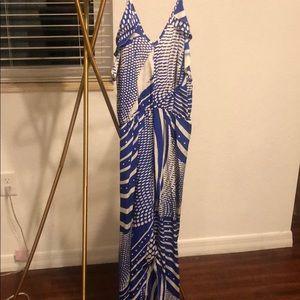 Beautiful Blue Beach Maxi Dress - White Small New